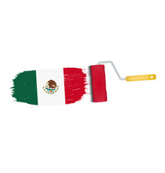 brush stroke with mexico national flag isolated on vector image