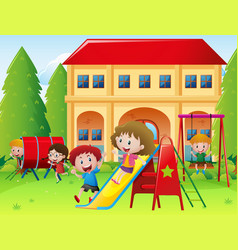 children playing at school playground vector image vector image
