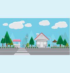 city street and store flat style design vector image