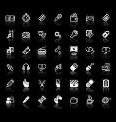 internet media application icon set vector image vector image