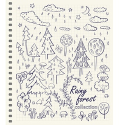 rainy forest vector image vector image