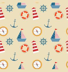 seamless pattern of marine theme set vector image vector image