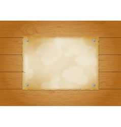 Wood plank background with old paper vector image vector image