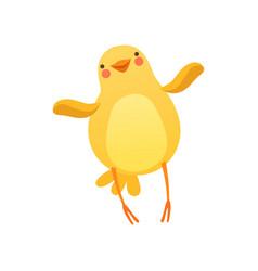 Cute baby chicken waving its wings funny cartoon vector