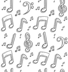 doodle music notes pattern seamless background vector image vector image