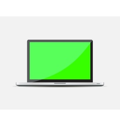 Realistic Open Laptop with green blank screen vector image