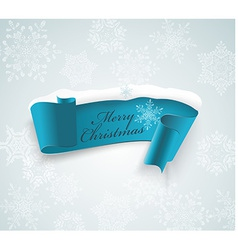Winter banner blue realistic ribbon and snow vector image vector image