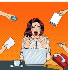 Pop Art Crying Stressed Business Woman Screaming vector image vector image