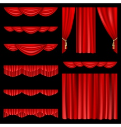 set of red curtains to theater stage mesh vector image vector image