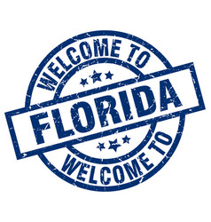welcome to florida blue stamp vector image vector image
