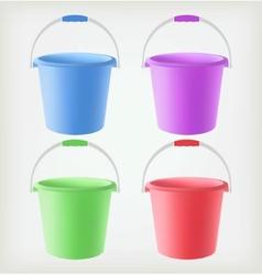 Colored Buckets vector image vector image