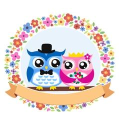 owl floral emblem design vector image vector image