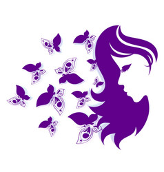 silhouettes of girls and butterflies vector image vector image