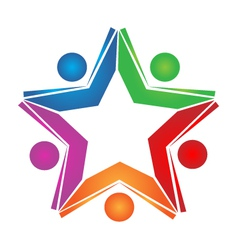 Teamwork colored books logo vector image