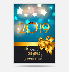 2019 happy new year and marry christmas background vector