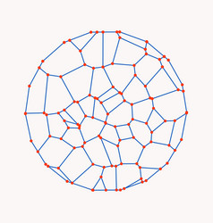 A circle composed of dots and lines 3d vector