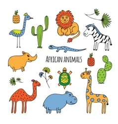 African animals sketch vector image