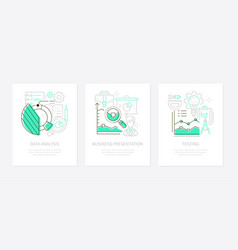 Analytics concept - line design style banners set vector