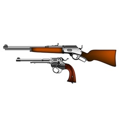 ancient pistol and rifle vector image