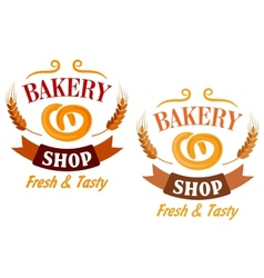 Bakery Shop and pretzel sign vector image