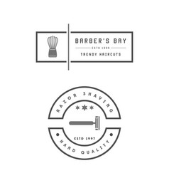 barber shop set two emblems in monochrome vector image