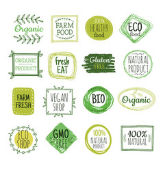 Bio labels vegan green eco food gluten free vector