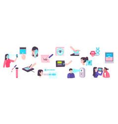 Biometric technologies icons set vector