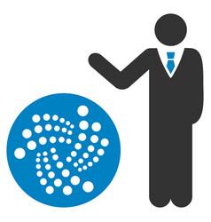 Businessman show iota flat icon vector