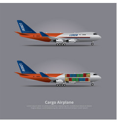 cargo ship airplane isolated vector image
