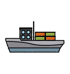 Cargo ship carries steel containers for delivery vector