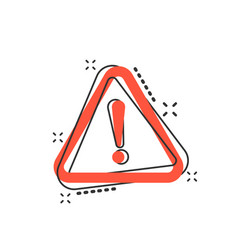 cartoon danger icon in comic style attention vector image
