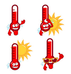 Cartoon hot thermometers vector