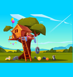 child on tree house girl playing on playground vector image
