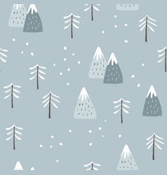 christmas seamless pattern cute winter landscape vector image