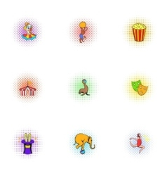 Circus icons set pop-art style vector image