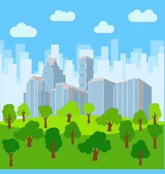 city park in the background of skyscrapers vector image
