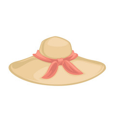 classic hat with ribbon bow fashionable women vector image