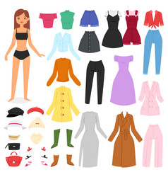 Clothes woman beautiful girl and dress up vector