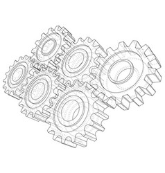 cogs and gears rendering of 3d wire-frame vector image
