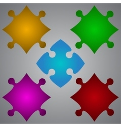 Color 5 Puzzles Pieces JigSaw Royalty Free Vector Image