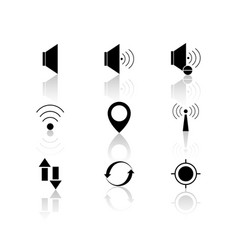 contact black voice set icons reflection vector image