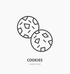 Cookie biscuit flat logo line icon sweet food vector