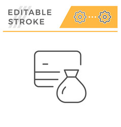 credit card saving editable stroke line icon vector image