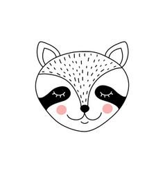 Cute adorable raccoon vector