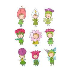 Cute cartoon flower fairies forest gnomes vector