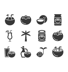 cute coconut icon set solid vector image