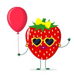 cute strawberry cartoon character sunglasses vector image