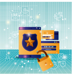 cyber security with tablet vector image