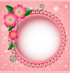 Delicate background with flowers and beads vector