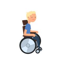 Disabled man in wheelchair rehabilitation of vector
